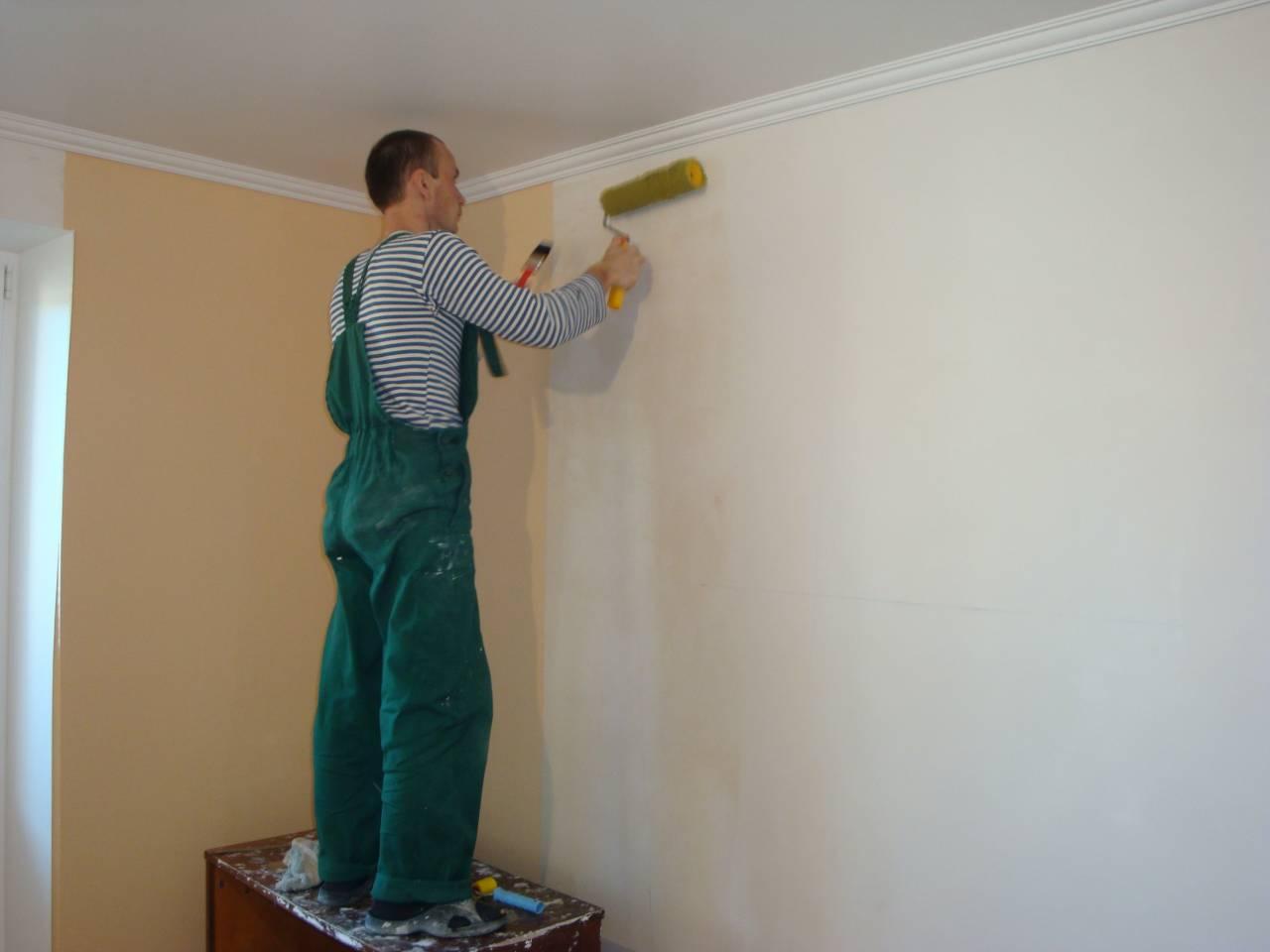 Нанесение грунтовки на стену