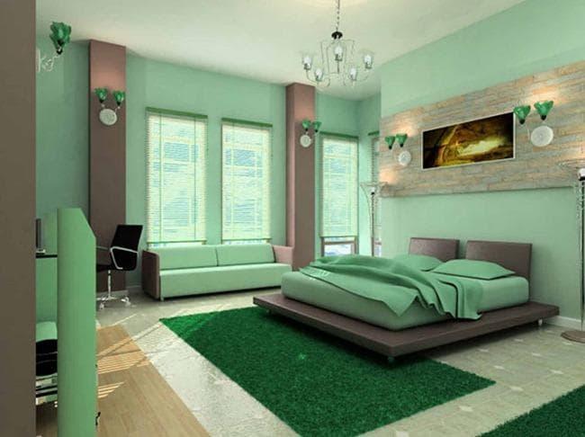 В спальной использованы обои под покраску