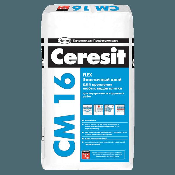 Эластичный клей для плитки Ceresit СМ 16