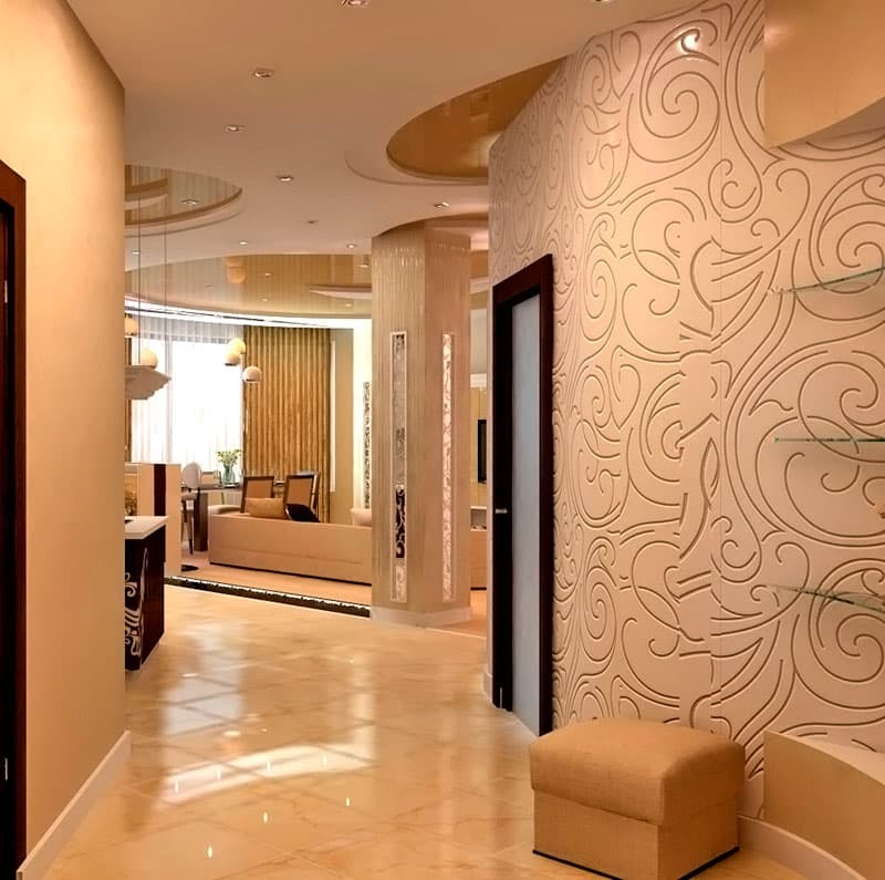 Декоративная штукатурка в интерьере коридора