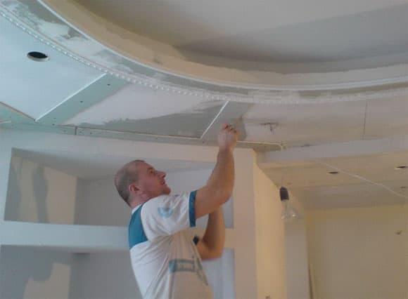 Обработка подвесного потолка из гипсокартона